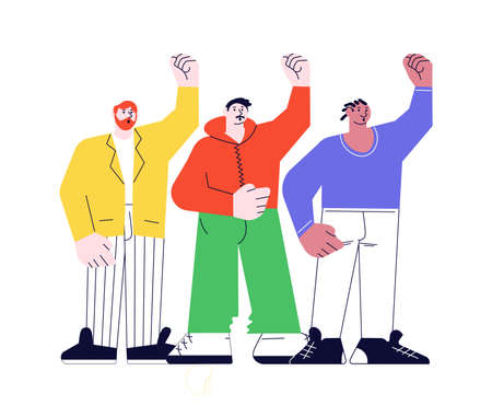 Crowd of people hands fist up  for human rights. Men of different nationalities and cultures standing together on white in modern outline minimalism design. Flat Art Vector Illustration. 向量圖像