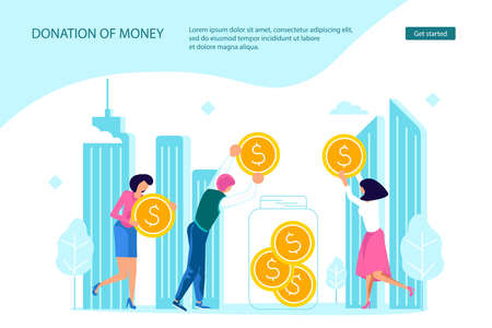 Donation of money and volunteering in the city Landing web page template. Tiny people neighbors collect coins to make donate to the needy and homeless. Flat Art Vector Illustration