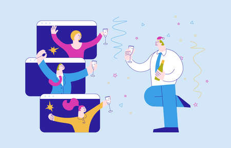 Christmas and New Year party concept. Happy Business people with glasses of champagne having fun time together, celebrate and congratulate each other. Flat Art Vector Illustration