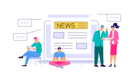 Business people reading Online Breaking News in Modern electronic devices. Online Breaking News concept isolated on white. Flat line Art Vector Illustration