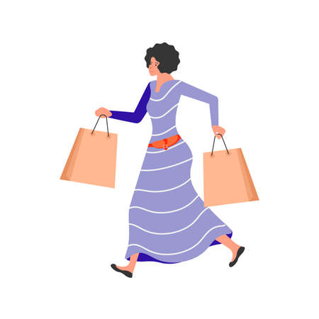 Woman shopper with packages rushing to the sale isolated in white background. Vector illustration