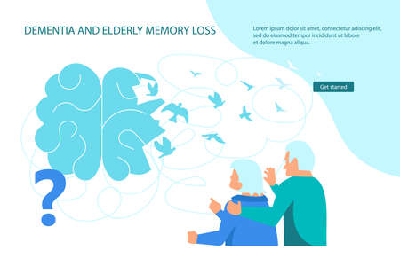 Dementia and elderly brain treatment Landing web page template. Thoughts leave the brain and fly away like birds. Metaphor of memory loss Flat Art Vector Illustration