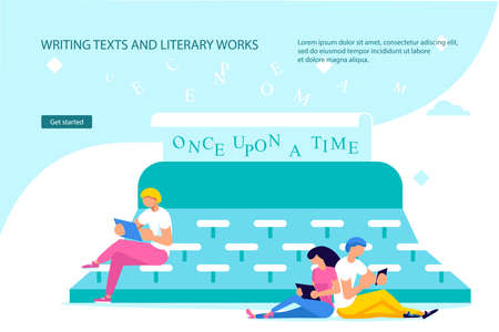 Writing texts and literary works Landing web page template. Tiny people literature text authors on huge typewriter are Writing Books and Poetry. Flat Art Vector Illustration