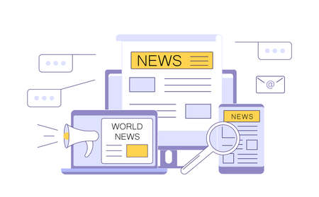 Online Breaking News concept. Modern electronic devices with news information on screen isolated on white. Flat line Art Vector Illustration 向量圖像