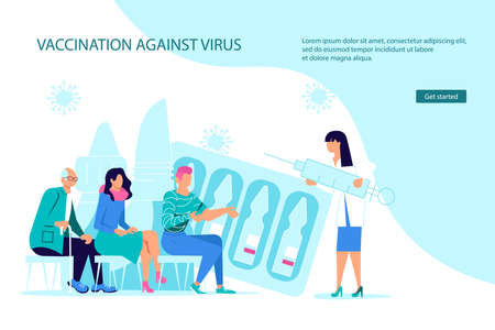 Vaccination against coronavirus Landing webpage template. Tiny female doctor with a huge syringe makes vaccinations, people are waiting for their turn. Flat Art Vector Illustration