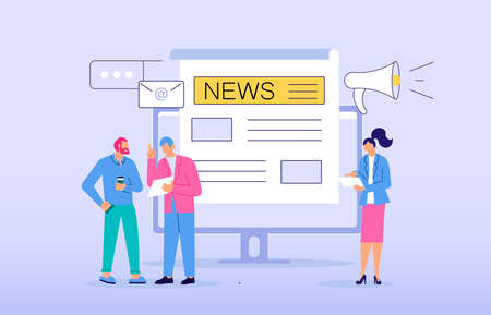 Business people reading Online Breaking News in Modern electronic devices. Online Breaking News concept isolated on purple. Flat line Art Vector Illustration