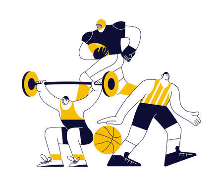 Sports concept with athletes in yellow on white. Different male and female sportsmen isolated. Flat Art Vector Illustration 向量圖像