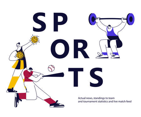 Sports banner with athletes on white. Different male and female sportsmen isolated. Flat Art Vector Illustration 向量圖像