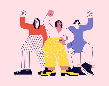 Girl power and feminism concept. Women of different nationalities and cultures standing together on pink in modern outline minimalism design. Flat Art Vector Illustration.