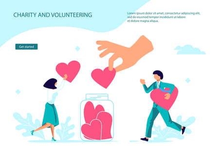 Charity benevolence and volunteering Landing web page template. Tiny people collect heart symbols with a giving hand. Flat Art Vector Illustration 向量圖像