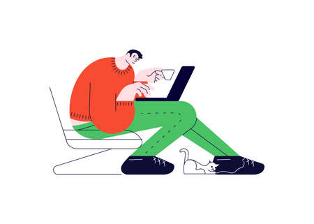 Guy with laptop sitting in the armchair and working at home. Stylized Freelance or studying remotely. Flat Art Vector Illustration.