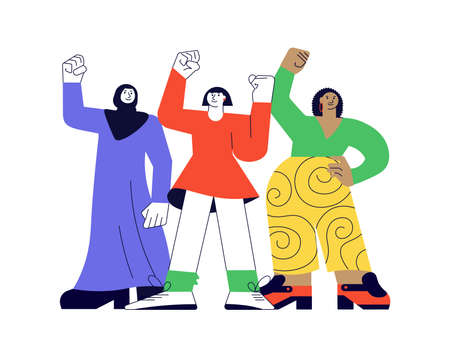 Girl power and feminism concept. Women of different nationalities and cultures standing together on white in modern outline minimalism design. Flat Art Vector Illustration.