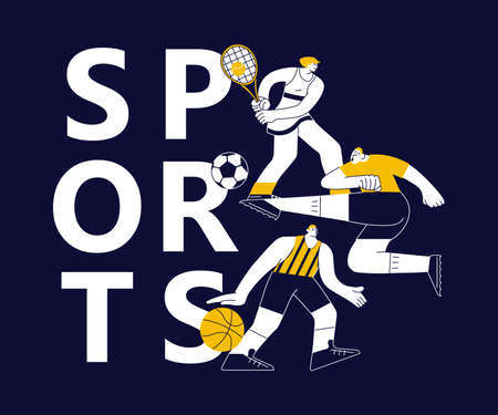 Sports banner with athletes on black. Different male and female sportsmen isolated. Flat Art Vector Illustration