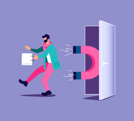 Magnet power attracts potential product man buyer to shop. Influence marketing for attraction customers metaphor. Isolated on purple Vector Illustration