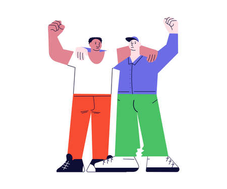 Afro and caucasian men huggs and hands fist up for human rights. Friends of different nationalities and cultures standing together on white in modern outline minimalist design. Flat Art Vector Illustration. 向量圖像