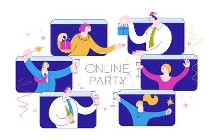 Christmas and New Year party invitation. Happy Business people with glasses of champagne having fun time together, celebrate and congratulate each other. Flat Art Vector Illustration 向量圖像