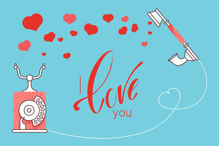 Red vintage phone with hearts and love quote on blue background illustration. Happy Valentines day greeting vector card