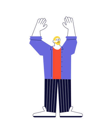 Caucasian man standing and waving with two his raised hands. Say hello and greeting. Vector Illustration isolated on white