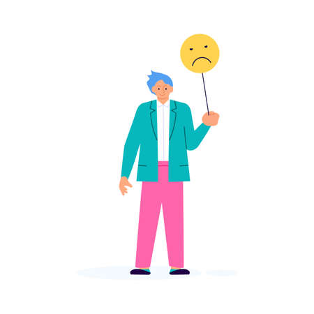 Man with bad emoticon sign giving his choice for feedback vector concept. Customer review and satisfaction rating metaphor illustration