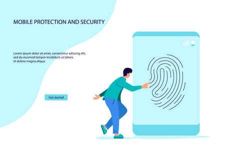 Landing webpage template of Data protection smartphone by fingerprint concept. Secure payment, personal information security. Flat Art Vector Illustration  イラスト・ベクター素材