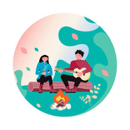 Hiking trekking and camping in nature Social Media highlight icon. Happy man and woman backpackers hikers travel together. Flat Art Vector Illustration