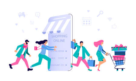 Ecommerce retail on device for customer application on white background. People going for shopping to smartphone and go out happy with bags after deals. Vector flat illustration