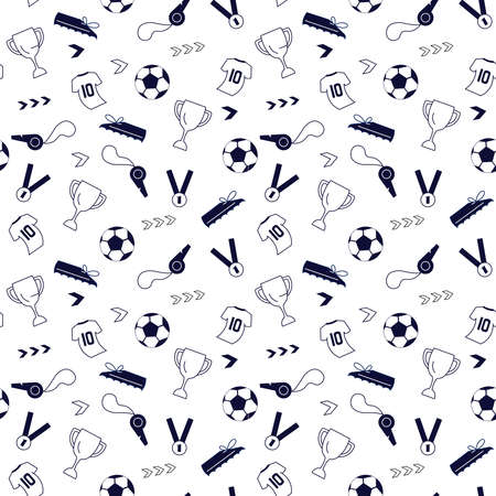 Seamless pattern from sport equipment and dynamics lines. Sport accessories isolated on white background. Contemporary Flat Vector Illustration