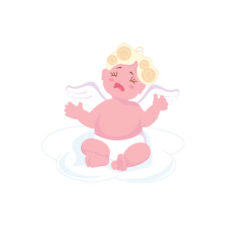 Cute cupid baby crying and naughty isolated on white background. Flat Art Vector illustration