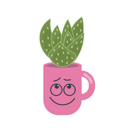 Succulent plant in mug with funny face print. Trendy home decor elements isolated on white background. Flat Art Vector illustration
