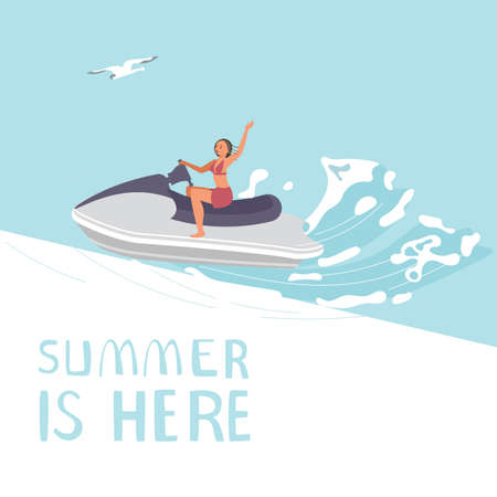 Summer is here square banner template. People on summer vacation concept. A young races on aquabike. Flat Art Vector Illustration Vecteurs