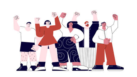 Male and Female protesters standing together with Fists hands up. Multiracial crowd of people on demonstration isolated on white background. Flat Art Vector illustration