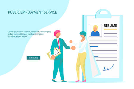 Landing webpage template of Hiring employees and new workplaces. Expansion and emergence of new enterprises for labor market concept. Flat Art Vector Illustration