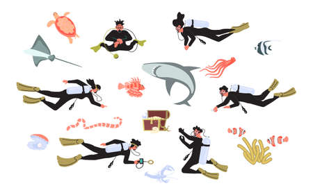 Set of deep and scuba diving people and underwater animals. Men and women divers among fishes and treasure chest. Flat Art Vector illustration