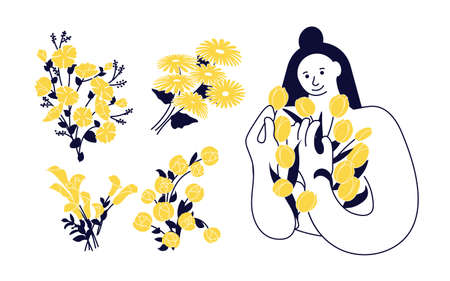 Set of Women and flowers design elements
