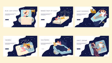 Web page template with sleepiness or insomnia people