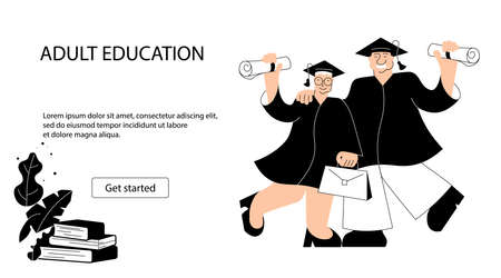 Web page template of adult and elderly people education Illustration