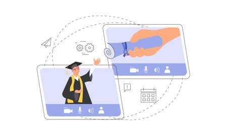 Happy graduate man gets graduation academic diploma Illustration