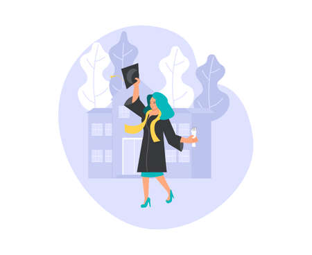 Happy graduate women throws the academic cap up