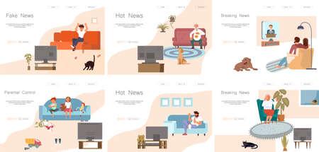 Set of Landing webpage template viewers watching TV Illustration