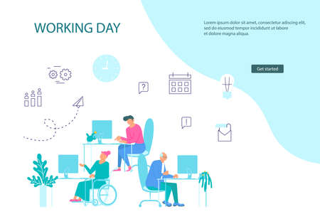 webpage template of business characters at workplace Illustration