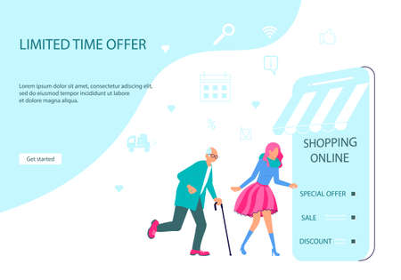 Webpage of People going for shopping to smartphone. Illustration