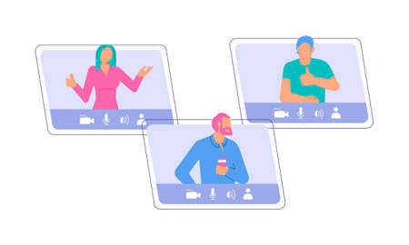 Different People taking part in video conference Illustration