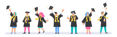 Set of happy Graduation people wearing academic gown Illustration
