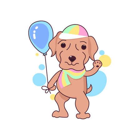 Cute Labrador dog LGBT symbol waving paw