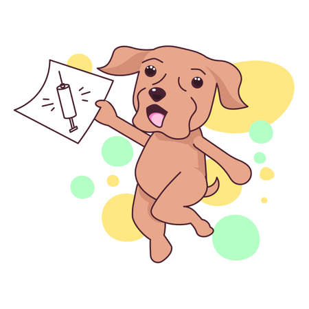 Cute Labrador dog runs and holds vaccination certificate Illustration