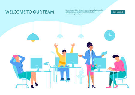 Webpage template of business characters working in office Vettoriali