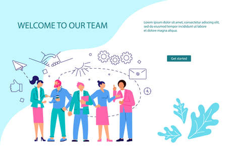 webpage template of business characters working in office