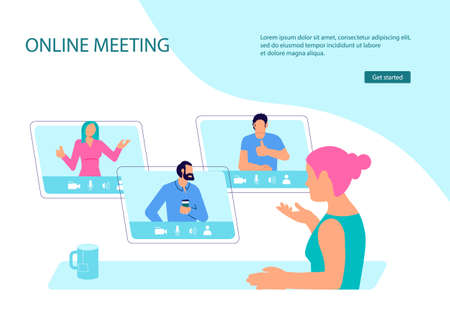 Woman has online meeting at remote work