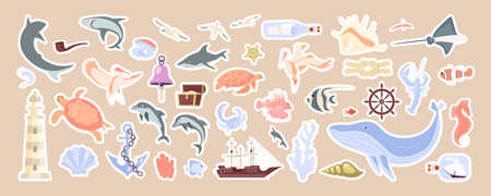 Underwater objects and sea animals cute stickers set