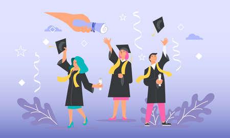 Happy graduate man gets graduation academic diploma Vettoriali
